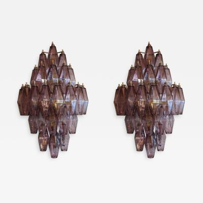 Pair of 1970s Murano Sconces with Amethyst Polyhedron Glass