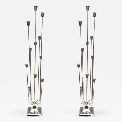 Pair of 1970s Nickel Plated Candleholders with Eleven Cups
