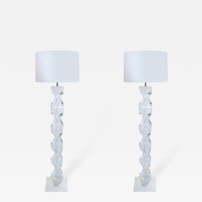 Pair of 1970s Spiral Floor Lamps in Lucite