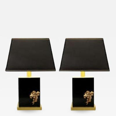 Pair of 1970s lable lamps in black Altuglas and brass