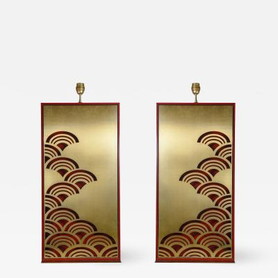 Pair of 1970s tall Lacquered wood lamps