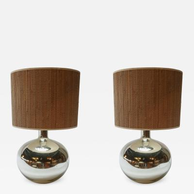 Pair of 1980s Chrome Table Lamps