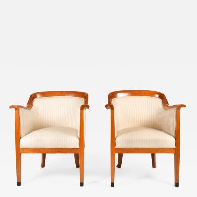 Pair of 1980s English cream and cherry wood occasional chairs