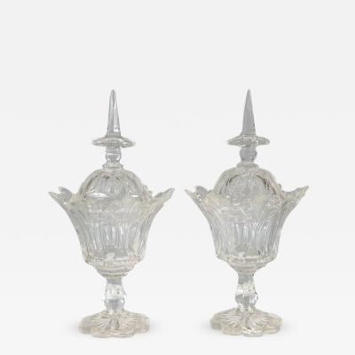 Pair of 19th C Anglo Irish Cut Glass Compotes
