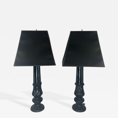 Pair of 19th C Cast Iron Acanthus Lamps