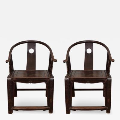 Pair of 19th C Chinese Horseshoe Chairs