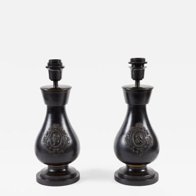 Pair of 19th C Dark Ceramic Lamps