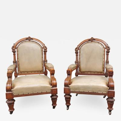 Pair of 19th C English Leather Library Chairs
