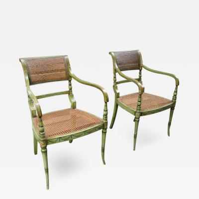 Pair of 19th C English Regency Painted and Caned Armchairs