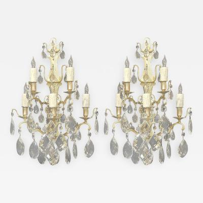 Pair of 19th C French Baccarat Quality Crystal Sconces