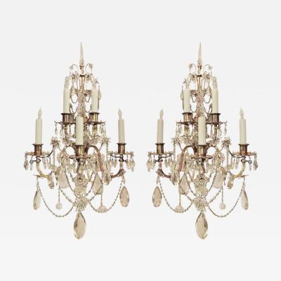 Pair of 19th C French Bronze and Crystal Sconces