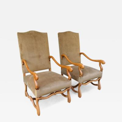 Pair of 19th C French Louis XIV Fruitwood Armchairs with New Upholstery