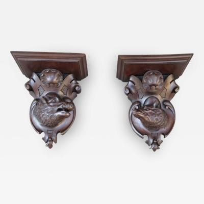Pair of 19th C German Black Forest Carved Walnut Wall Brackets