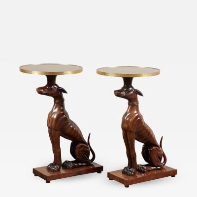 Pair of 19th C Italian Mahogany Dog Side Tables