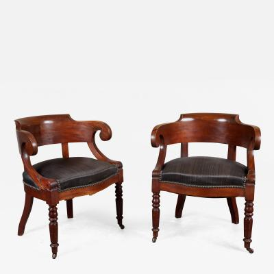 Pair of 19th C Swedish Mahogany Armchairs