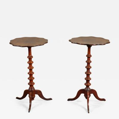 Pair of 19th C Swedish Walnut Turned Side Tables