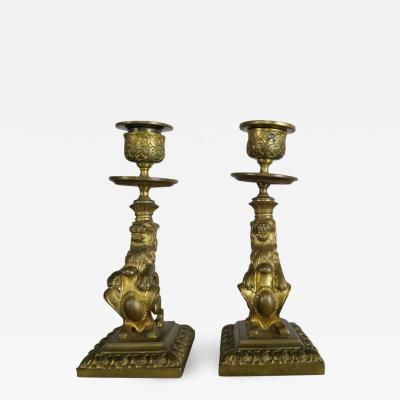 Pair of 19th Century Bronze Lions with Shields