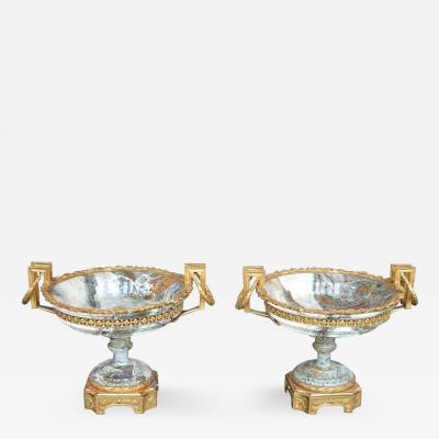 Pair of 19th Century Bronze and Marble Tazzas