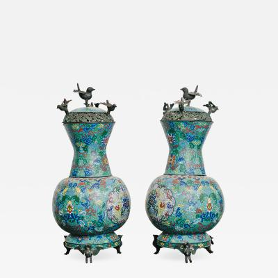 Pair of 19th Century Chinese Bronze Cloisonn Urns