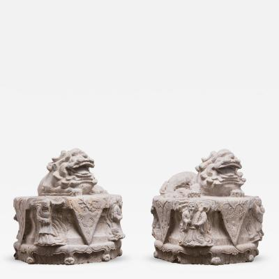 Pair of 19th Century Chinese Reclining Stone Fu Dogs