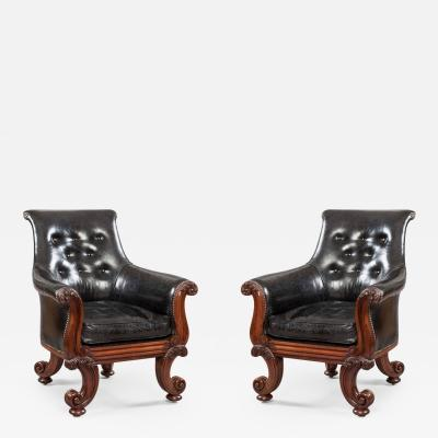 Pair of 19th Century English C Scroll Black Leather Library Armchairs
