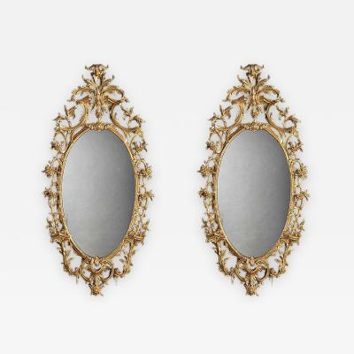 Pair of 19th Century English Giltwood Mirrors in the George III Style