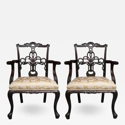 Pair of 19th Century English Ribbon Back Armchairs