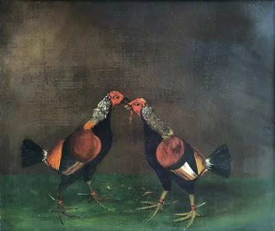 Pair of 19th Century English Sporting Paintings Fighting Cocks