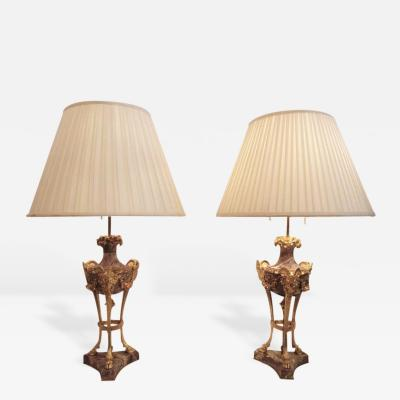 Pair of 19th Century French Bronze Dore and Marble Chenet Lamps with Rams