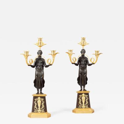 Pair of 19th Century French Gilt and Bronze Candelabra of the Empire Period