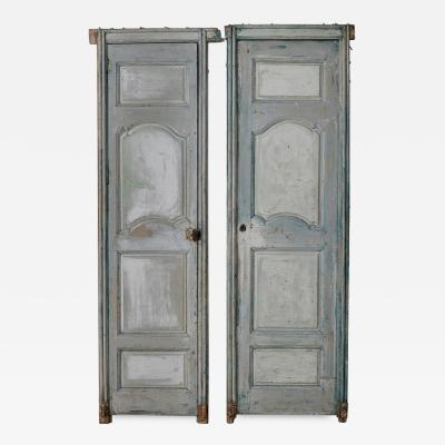Pair of 19th Century French Louis XV Style Solid Wood Doors In Original Paint