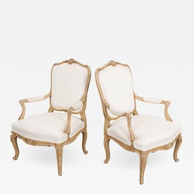 Pair of 19th Century French Painted Louis XV Style Fauteuils