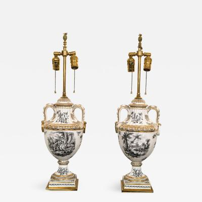 Pair of 19th Century French Porcelain Urns as Table Lamps
