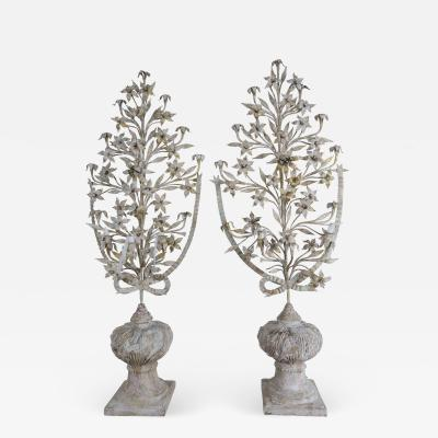 Pair of 19th Century French Urns filled w Metal Painted Parcel Gilt Flowers