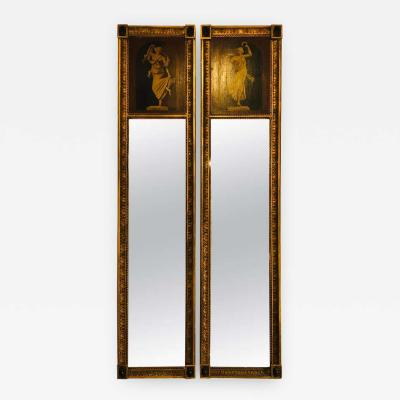 Pair of 19th Century Grecian Style Pier or Trumeau Wall Console Mirrors