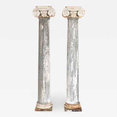 Pair of 19th Century Iron Zinc and Terracotta Ionic Capital Columns