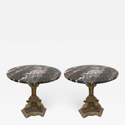 Pair of 19th Century Italian Giltwood Marble Top Pedestal Tables