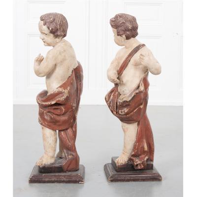 Pair of 19th Century Italian Hand Painted Putti Statues