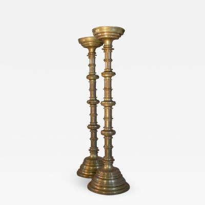 Pair of 19th Century Medieval Style Monumental Brass Candelabra
