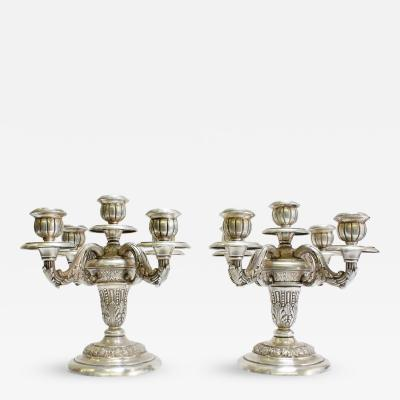 Pair of 19th Century Neoclassical Sterling Silver Candelabras