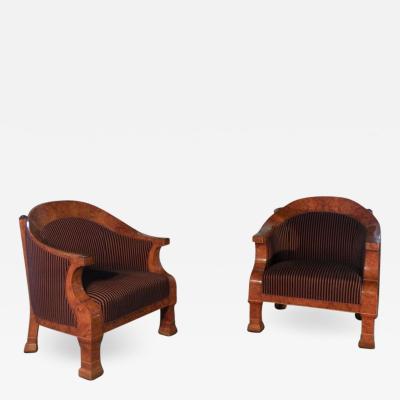 Pair of 19th Century Oversized Biedermeier Bergeres