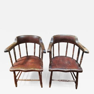 Pair of 19th Century Painted New England Windsor Chairs