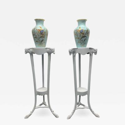 Pair of 19th Century Painted White Georgian Style Pedestal Planters