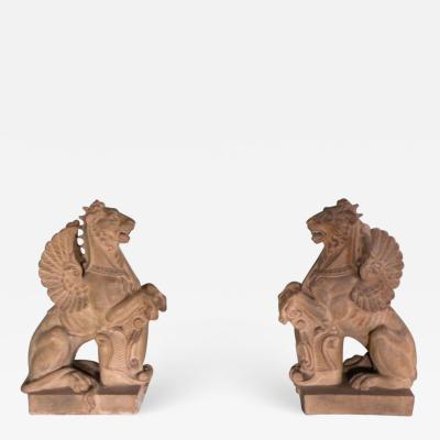 Pair of 19th Century Terra Cotta Winged Lions