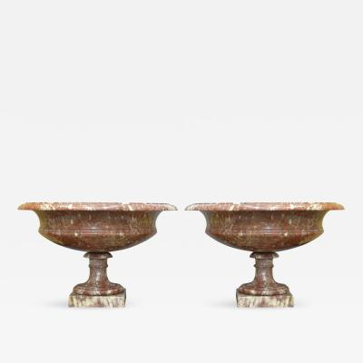 Pair of 19th Century Turned Rossa Verona Marble Tazzas
