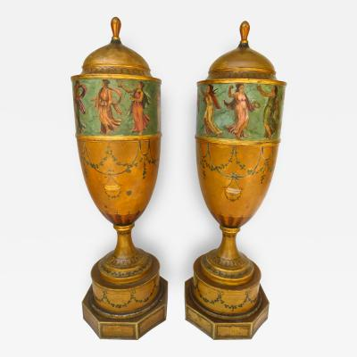 Pair of 19th Century Urns Japanned Tole and Copper