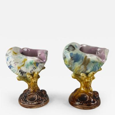 Pair of 19th Majolica Shells Vases
