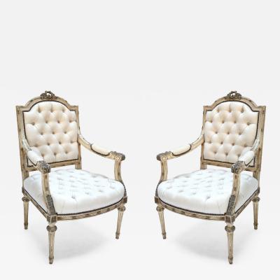 Pair of 19th c Louis XVI Armchairs in Beige Linen