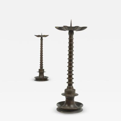Pair of 19th century Bronze bobbin Candlesticks