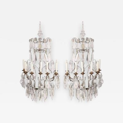 Pair of 19th century Continental Seven Branch Cut Glass Wall Lights